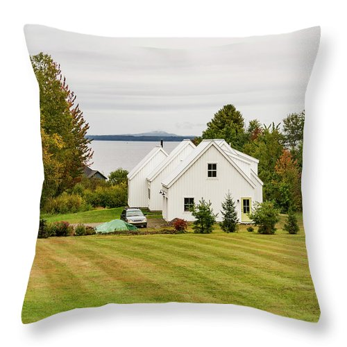 Home Throw Pillow featuring the photograph New England Traditional House In The Fall by Enrico Della Pietra