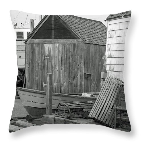 Black And White Throw Pillow featuring the photograph New England Wharf Scene In Black And White by Suzanne Gaff