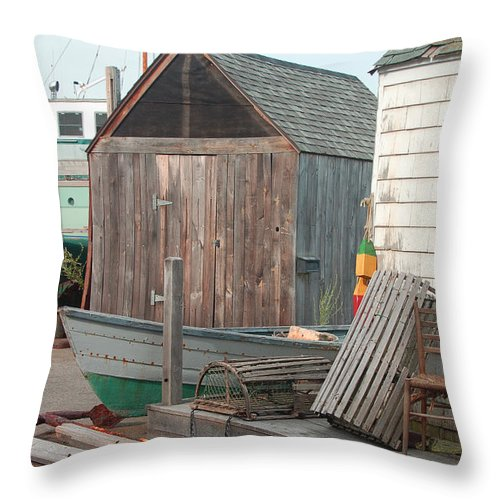 New England Throw Pillow featuring the photograph New England Wharf Scene by Suzanne Gaff