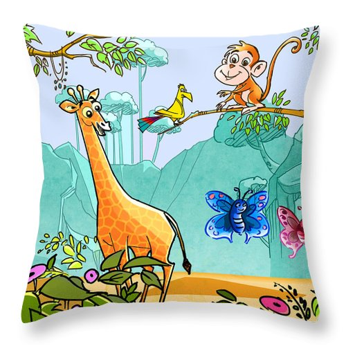 Friends Throw Pillow featuring the digital art New Friends In The Jungle by Ruth Moratz