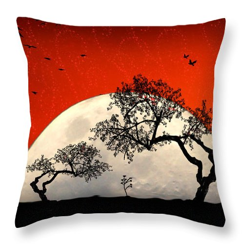 Moon Throw Pillow featuring the digital art New Growth New Hope by Holly Kempe