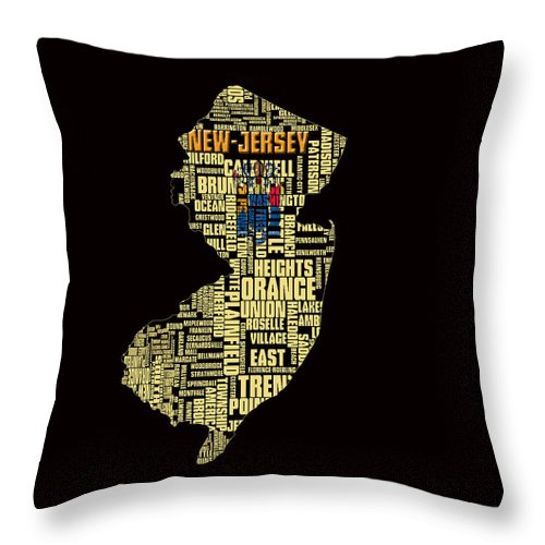 New Jersey Throw Pillow featuring the digital art New Jersey Typographic Map 4g by Brian Reaves