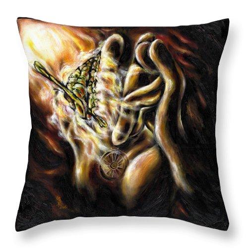 Spiritual Throw Pillow featuring the painting New Journey by Hiroko Sakai