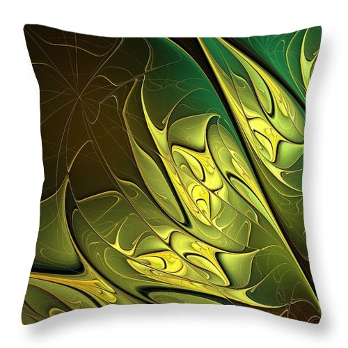 Digital Art Throw Pillow featuring the digital art New Leaves by Amanda Moore