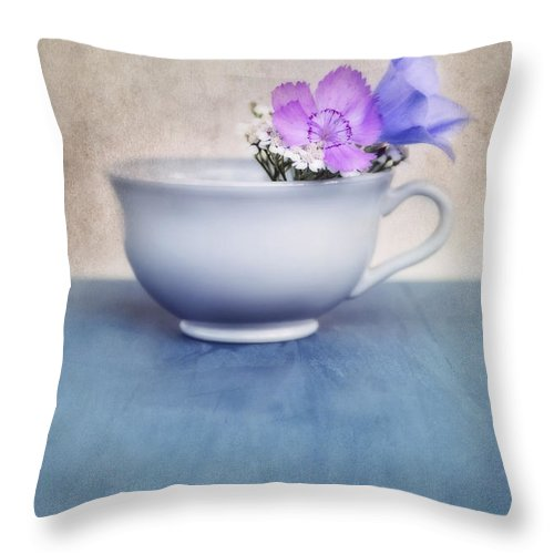 .cup Throw Pillow featuring the photograph New Life For An Old Coffee Cup by Priska Wettstein
