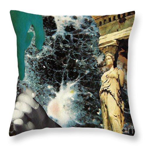 Space Throw Pillow featuring the mixed media New Life In Ancient Time-space by Sarah Loft