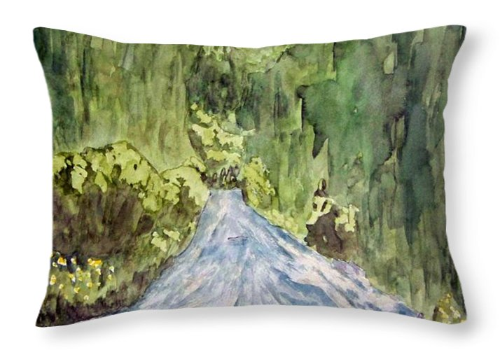New Mexico Art Throw Pillow featuring the painting New Mexico Canyon Impression by Larry Wright