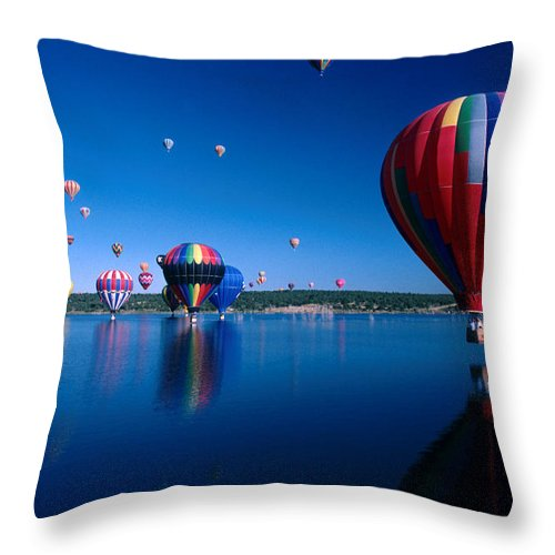 Hot Air Balloon Throw Pillow featuring the photograph New Mexico Hot Air Balloons by Jerry McElroy