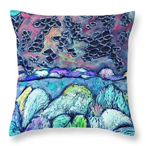 Landscape Throw Pillow featuring the painting New Mexico Landscape by Wayne Potrafka