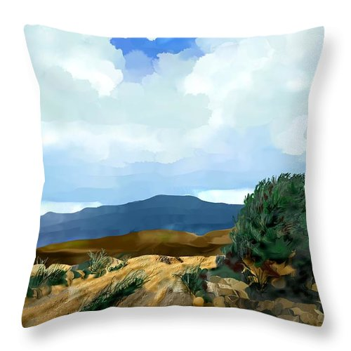 New Mexico Throw Pillow featuring the digital art New Mexico Morning I by Kerry Beverly