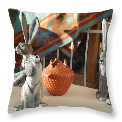 Rabbits Throw Pillow featuring the photograph New Mexico Rabbits by Rob Hans