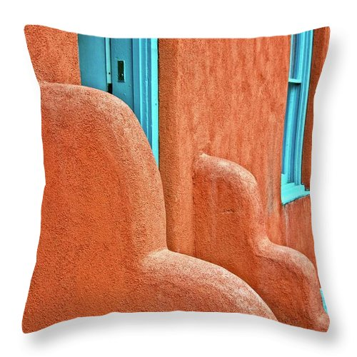 Door Throw Pillow featuring the photograph New Mexico Style by Zayne Diamond Photographic