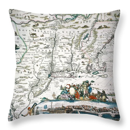 1673 Throw Pillow featuring the photograph New Netherland Map by Granger