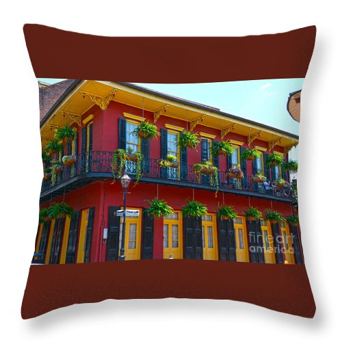 New Orleans Balcony Throw Pillow featuring the photograph New Orleans Balcony by Christine Dekkers