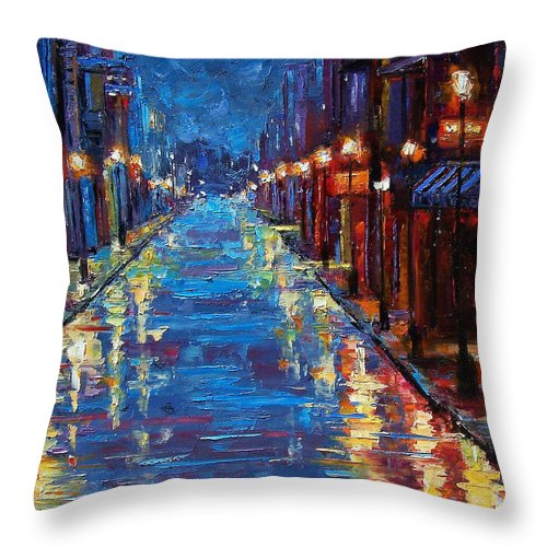 Cityscape Throw Pillow featuring the painting New Orleans Bourbon Street by Debra Hurd