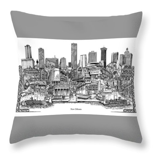 City Drawing Throw Pillow featuring the drawing New Orleans by Dennis Bivens