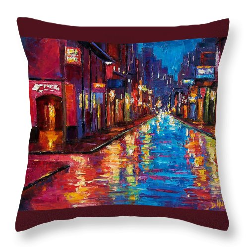 New Orleans Throw Pillow featuring the painting New Orleans Magic by Debra Hurd