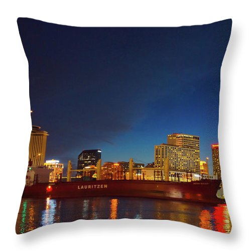 New Orleans Throw Pillow featuring the photograph New Orleans Skyline At Night by Art Spectrum
