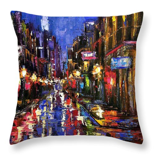 Cityscape Throw Pillow featuring the painting New Orleans Storm by Debra Hurd