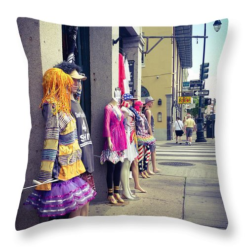 New Orleans Throw Pillow featuring the photograph New Orleans Street Mannequins by Southern Tradition