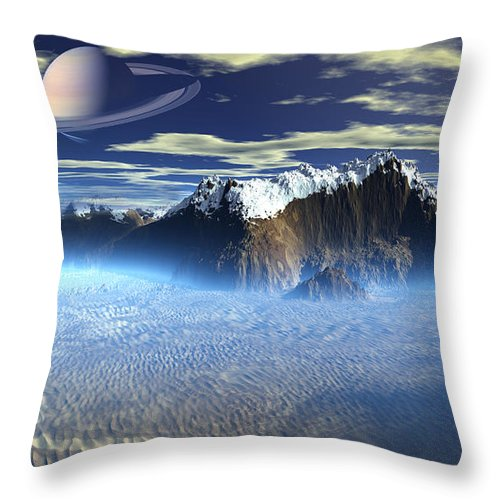 New Planet Saturn Throw Pillow featuring the mixed media New Planet Saturn 1 by Heinz G Mielke