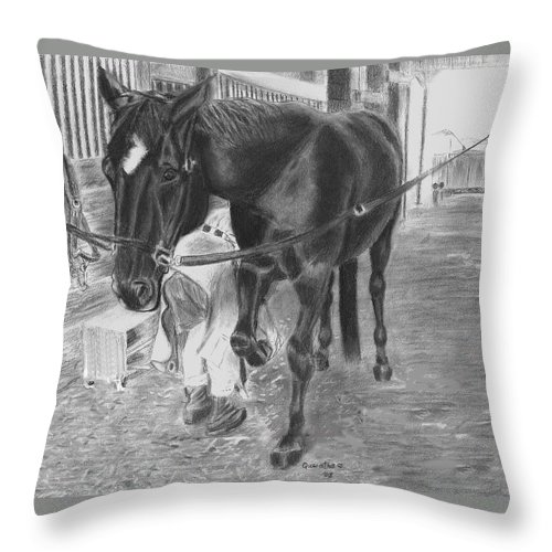 Horse Throw Pillow featuring the drawing New Shoes by Quwatha Valentine