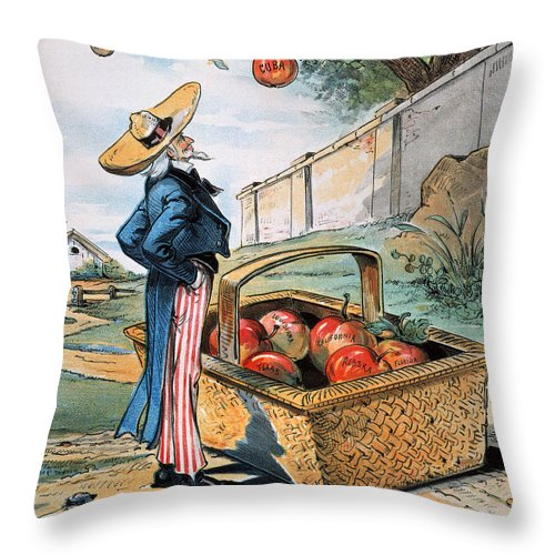 1897 Throw Pillow featuring the photograph New Territories Cartoon by Granger