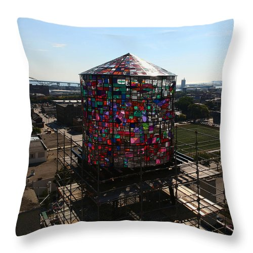 Water Tower Throw Pillow featuring the photograph Stained Glass Water Tower In Milwaukee by Steve Bell