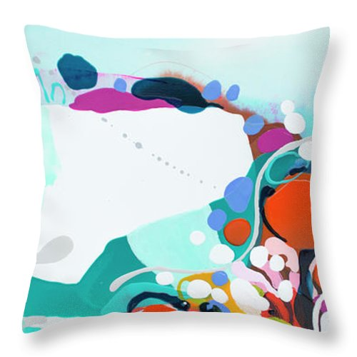 Abstract Throw Pillow featuring the painting New Ways by Claire Desjardins