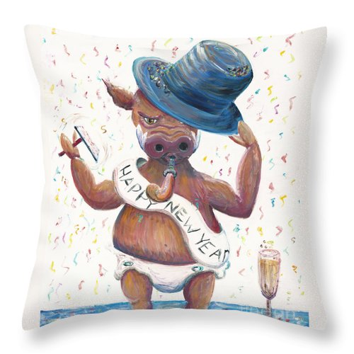 Hog Throw Pillow featuring the painting New Years Hog by Nadine Rippelmeyer