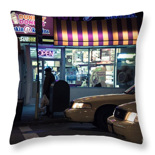 Nyc At Night Throw Pillow featuring the photograph New York At Night by John Farnan