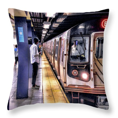 New York Throw Pillow featuring the painting New York City Charles Street Subway Station by Christopher Arndt