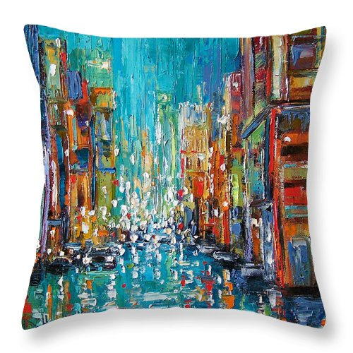City Art Throw Pillow featuring the painting New York City by Debra Hurd