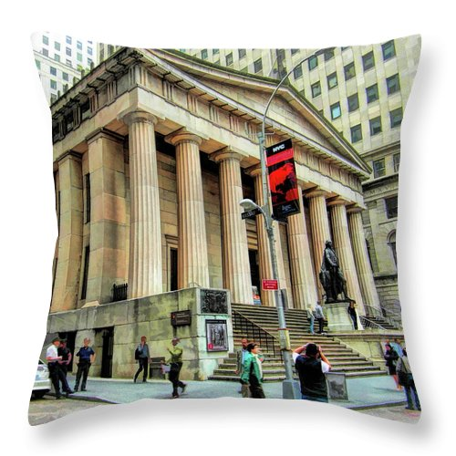 New York Throw Pillow featuring the painting New York City Federal Hall by Christopher Arndt