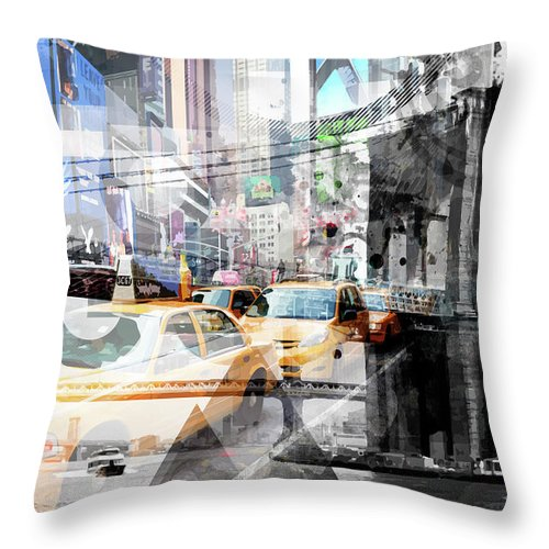 Abstract Throw Pillow featuring the photograph New York City Geometric Mix No. 9 by Melanie Viola