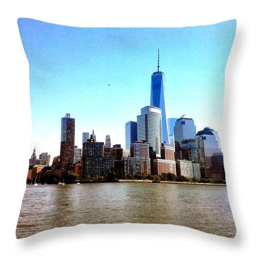 New York Throw Pillow featuring the photograph New York City Cityscape by Fabio Tedeschi