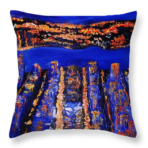Abstract Throw Pillow featuring the painting New York City by Lauren Luna