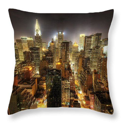 New York City Skyline Throw Pillow featuring the photograph New York City Night by Shawn Everhart