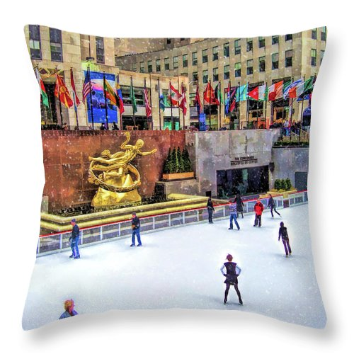 New York Throw Pillow featuring the painting New York City Rockefeller Center Ice Rink by Christopher Arndt