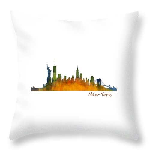 New York Throw Pillow featuring the painting New York City Skyline Hq V01 by HQ Photo