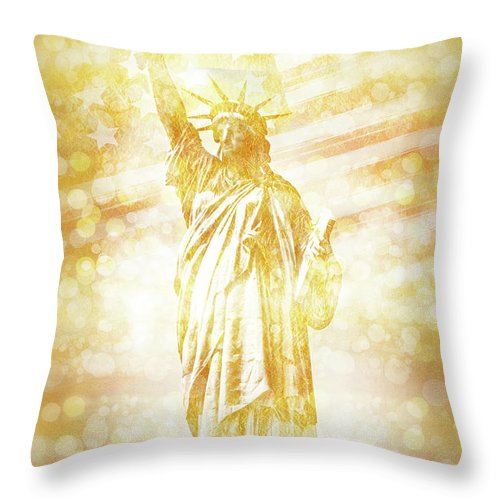 New York Throw Pillow featuring the digital art New York City Statue Of Liberty With American Banner - Golden Painting by Melanie Viola