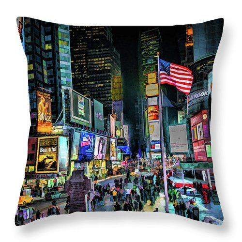 New York Throw Pillow featuring the painting New York City Times Square by Christopher Arndt