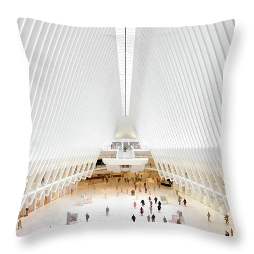 New York Throw Pillow featuring the painting New York City World Trade Center Oculus by Christopher Arndt