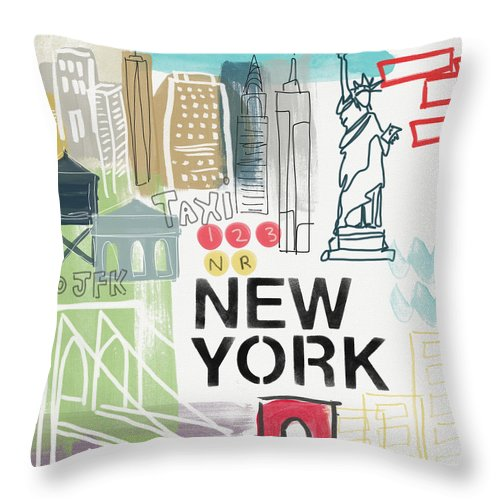 New York Throw Pillow featuring the painting New York Cityscape- Art By Linda Woods by Linda Woods