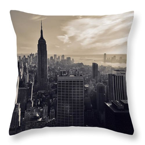 New York Throw Pillow featuring the photograph New York by Dave Bowman