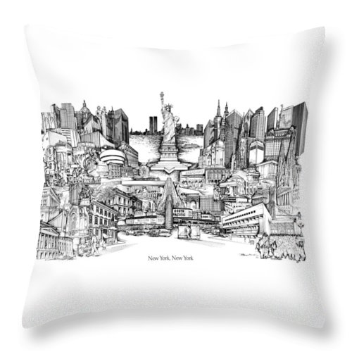 City Drawing Throw Pillow featuring the drawing New York by Dennis Bivens