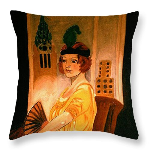 New York Throw Pillow featuring the painting New York Fantasy by Rusty Gladdish