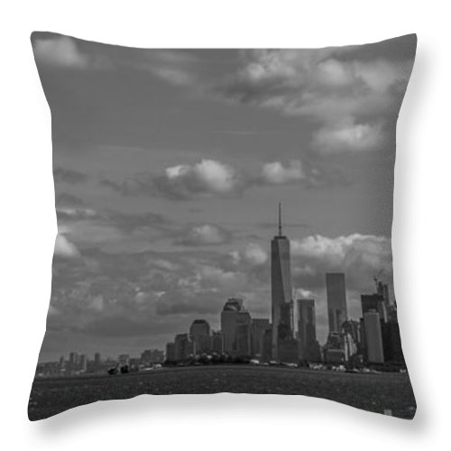New York Harbor Throw Pillow featuring the photograph New York Harbor by David Rucker