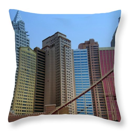 Vegas Throw Pillow featuring the photograph New York Hotel by Anita Burgermeister