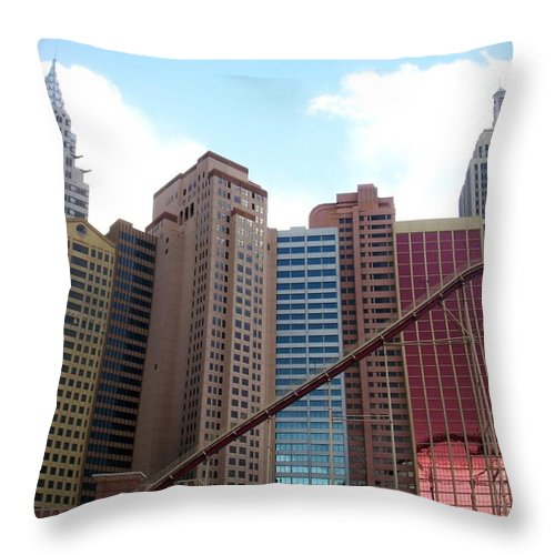 Vegas Throw Pillow featuring the photograph New York Hotel With Clouds by Anita Burgermeister